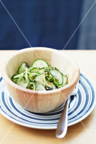Cucumber salad with algae and sesame seeds