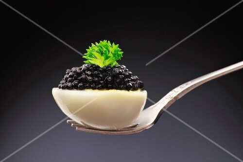 Caviar on half a boiled egg
