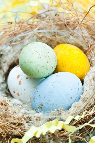 Speckled chocolate eggs in a Easter nest