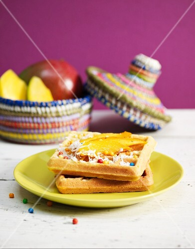 Waffles with coconut cream and mango
