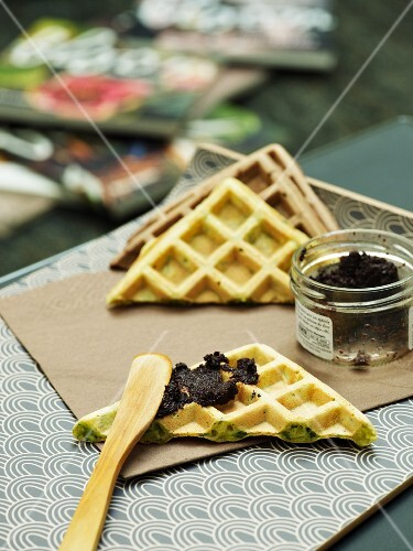 Waffles with zucchini and tapenade