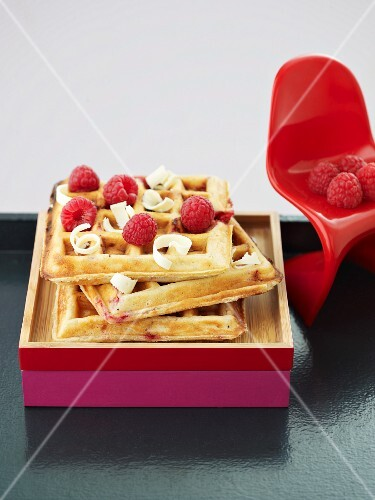 Waffles with raspberries and white chocolate