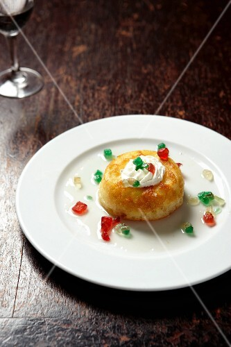 Rum baba with candied fruit
