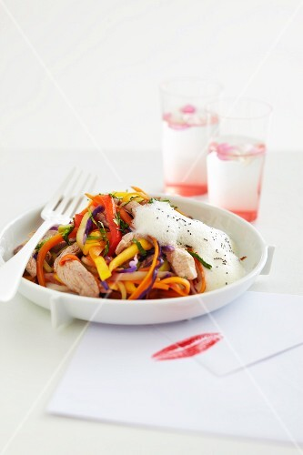Thinly sliced vegetables with roast lamb