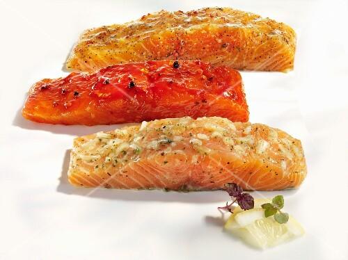Salmon with various marinades