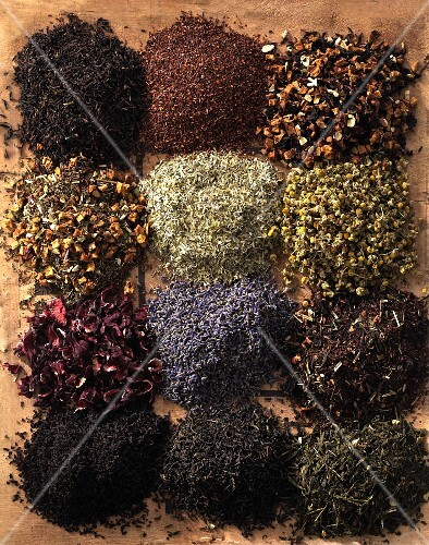 Assorted varieties of tea (view from above)