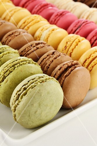 Rows of colorful macarons