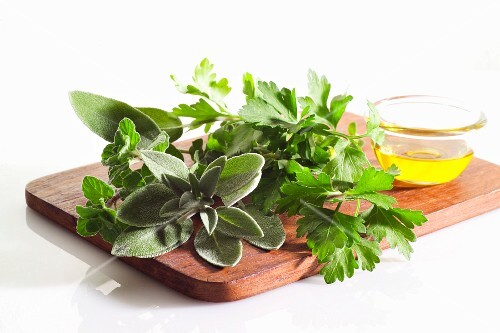 Fresh herbs and olive oil
