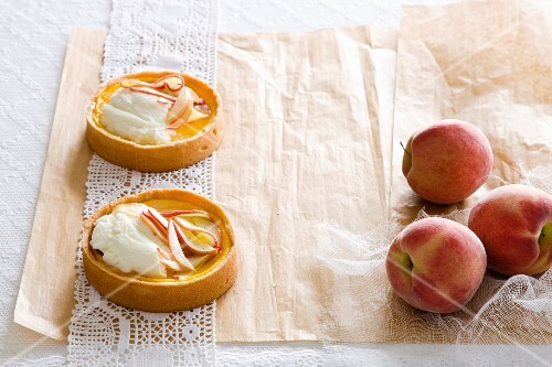 Peach tarts with vanilla ice cream