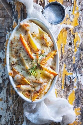 Potato-sweet potato gratin