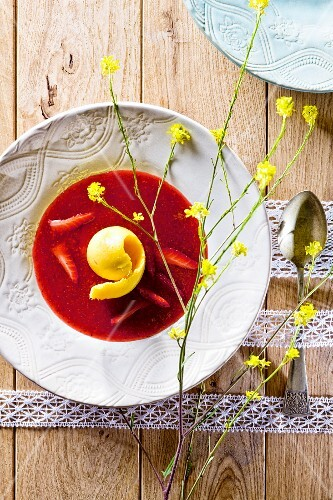 Strawberry soup with mango sorbet