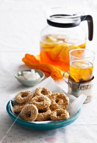 Sesame cookies and lemon tea (Turkey)