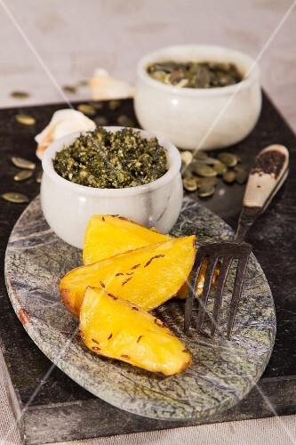 Wild garlic pesto and caraway potatoes