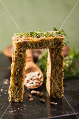 Slices of herb bread with sunflower seeds