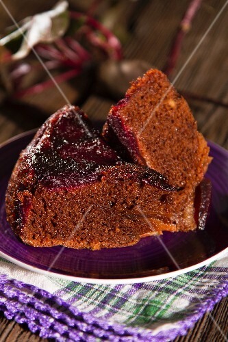 Two slices of chocolate cake