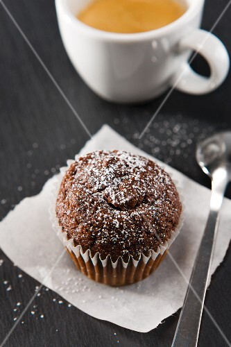Chocolate muffin with a cup of espresso