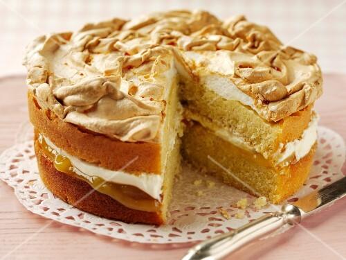Lemon cake topped with meringue