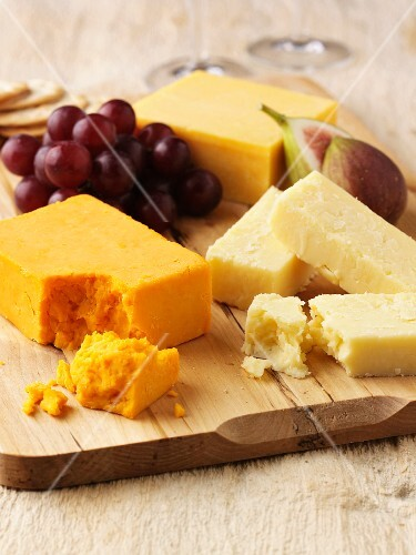 Still life with three types of cheese