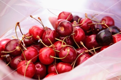 Cherries in a plastic bag