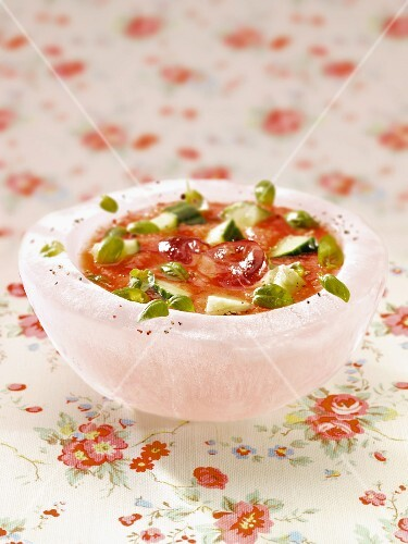 Gazpacho in an ice cream dish