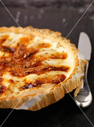 Pear tart with Livarot and cumin