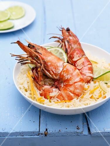 Grilled lemon-garlic shrimp with citrus rice