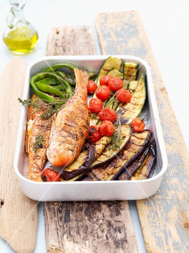 Mullet with Mediterranean grilled vegetables