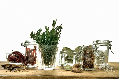 Assorted herbs and spices for preserving