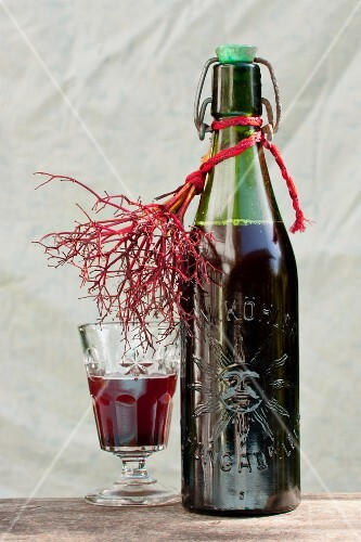 Elder syrup in a glass and in a bottle