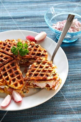 Potato waffles with herbs and radish quark