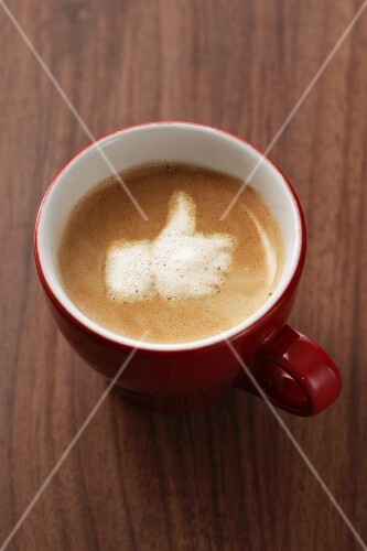 Capuccino with the 'Like' symbol