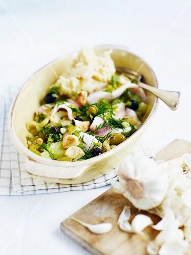 Zander fillets with vegetables, garlic and celeriac mash