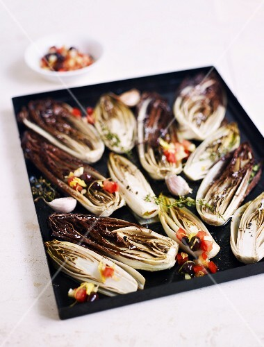 Roasted chicory with vegetable vinaigrette