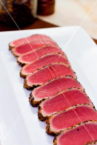Platter of Sliced Seared Tuna