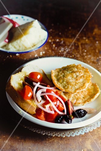 Cheese fritters with tomato salad