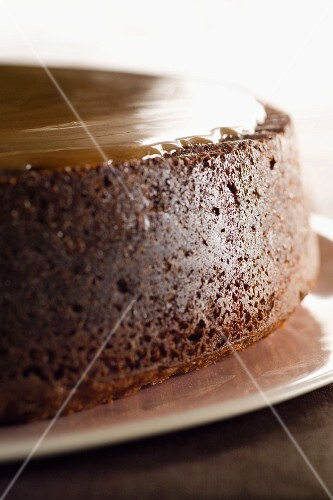 Chocolate cake with toffee topping