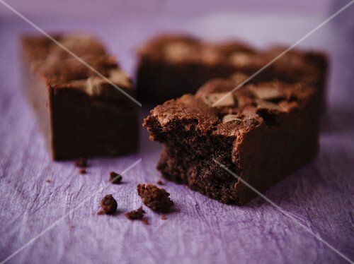 Dark Chocolate Brownies on a Purple Background