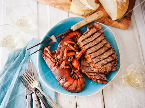 Surf and Turf Platter with Grilled Steak and Lobster; With Bread; From Above