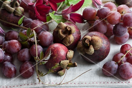 Mangosteen and grapes