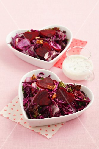 Beetroot salad with red cabbage, radishes and walnuts