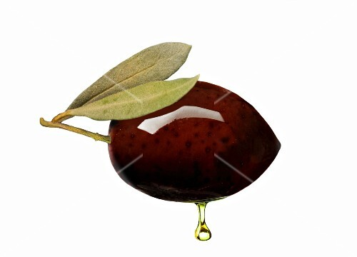 A black olive with oil droplet