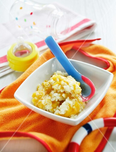 Peach rice pudding as baby food