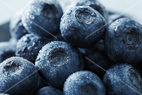 Blueberries with drops of water