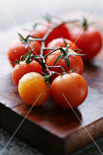 Tomatoes on the vine on a wet wooden board