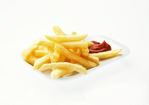 Chips with ketchup against a white background