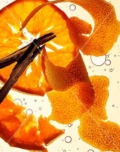 Oranges and cinnamon sticks