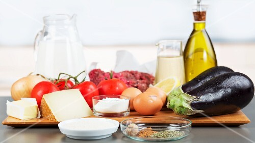 Ingredients for moussaka