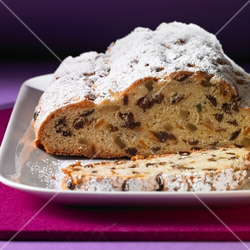 Classic butter stollen dusted with icing sugar