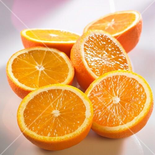 Six orange halves