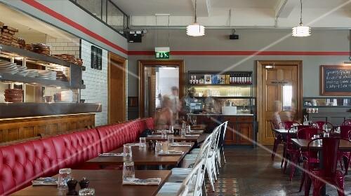 The ground-floor dining room at Jamie's Italian restaurant in Cheltenham, England